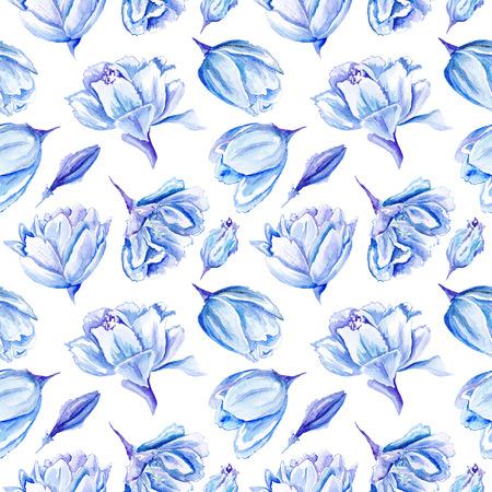 Seamless pasi�n fondo floral con flores de color �ndigo para textiles dormitorio y dise�o de papel tapiz, tarjetas e invitaciones de boda Foto de archivo