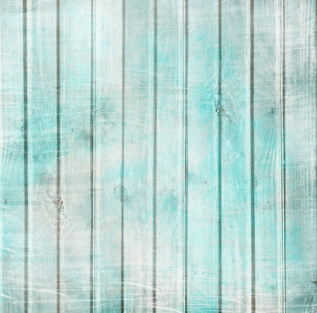 chic: Rustic old plank background in turquoise, mint and beige colors with textured scratches and antique cracked paint for scrapbooking and decoupage Stock Photo