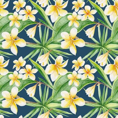 Pintados a mano, acuarela ilustraci�n bot�nico con flores plumeria y el �rbol de yuca, sin fisuras de baldosas