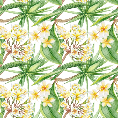 yucca: Hand-painted watercolor botanical illustration with plumeria flowers and yucca tree on white background for textile design
