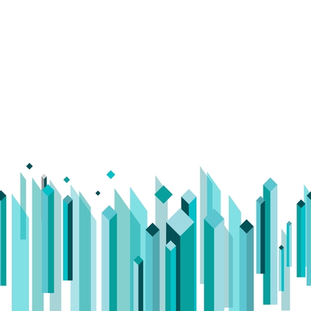 Vector abstract flat cube building illustration for corporate identity design in turquoise color