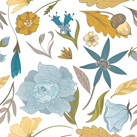 Seamless vector illustration with autumn plants and flowers on white background Illustration