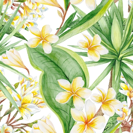botanic: Hand-painted watercolor botanic illustration with plumeria flowers and yucca tree, seamless tile