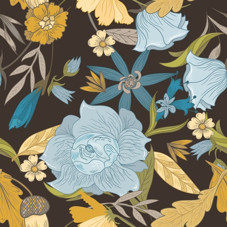 Seamless retro background with floral and natural motifs for wallpaper, textile, card design