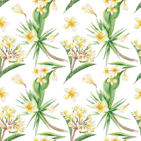 Exotic Plants botanic illustration with plumeria flowers and yucca tree, seamless tile