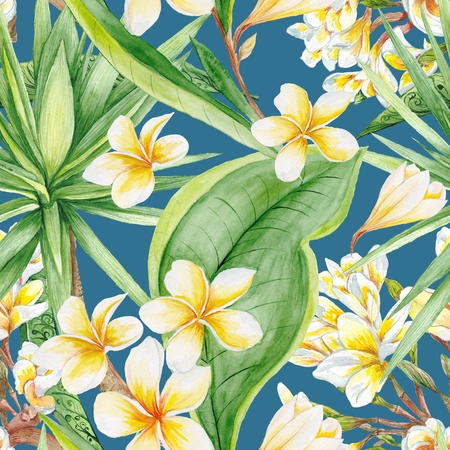 Seamless hand-painted watercolor background with yellow plumeria and green yucca tree for textile, interior and wallpaper design photo