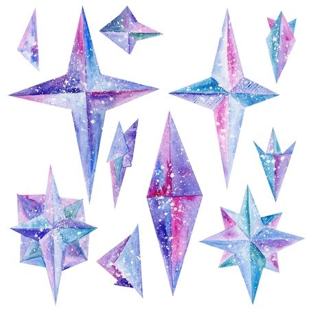 m�gica: Formas de estrellas m�gicas pintadas a mano en colores azules, p�rpuras y rosas aislados sobre fondo blanco