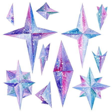 magic: Magic hand-painted star shapes in blue, purple and pink colors isolated on white background