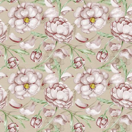 Fondo de lino Papel pintado incons�til con las flores marrones Foto de archivo