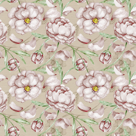 Seamless wallpaper linen background with brown flowers