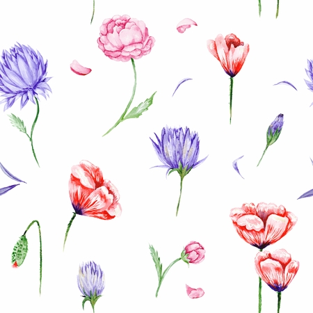 to and fro: Bright seamless background with roses, peonies, poppies in purple and red colors fro wallpaper, textile and designs Stock Photo