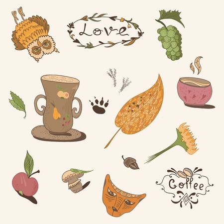 mode retro: Sketch doodle style fall objects for retro fashion thanksgiving design