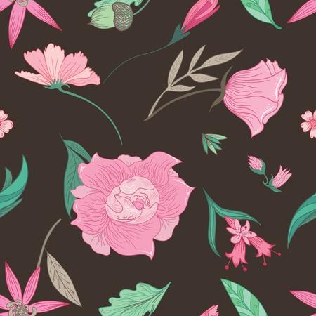 Ilustraci�n del vector con las flores y las hojas en el estilo de dibujo de la vendimia para la industria textil, de eventos, dise�o de papel tapiz