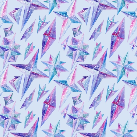 Magic hand-painted star shapes in blue, purple and pink colors on blue background photo