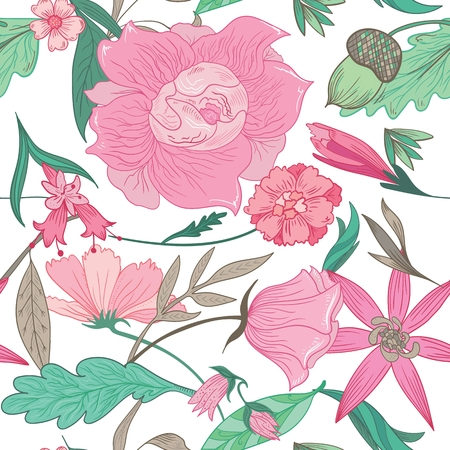 daisy pink: Vector seamless background with pink romantic peony, rose, mayweed, daisy flowers and mint leaves