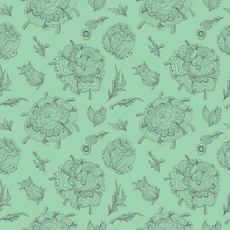 Seamless sketch doodle background in pastel colors for card, wallpaper, textile design