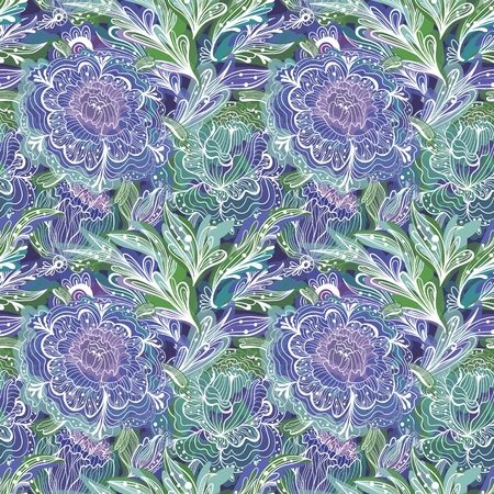 Vector seamless ornamental illustration with sketch flowers and leaves for wallpaper, fashion, textile design Illustration