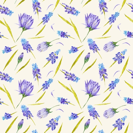 Watercolor botanical background with purple muskari and peony flowers for provence design