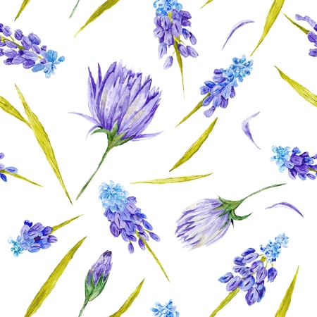 Seamless hand-painted watercolor illustration with purple flowers and green leaves on white background