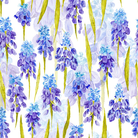 Seamless hand-painted romantic country botanical background for textile, wallpaper, event design, Lovely spring concept