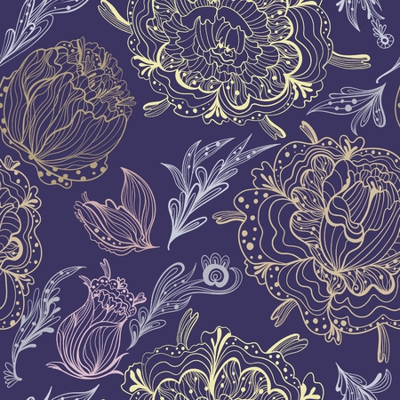 dark purple: Expensive print with pastel colored flowers in outline technique on dark purple background, modern and romantic style Illustration
