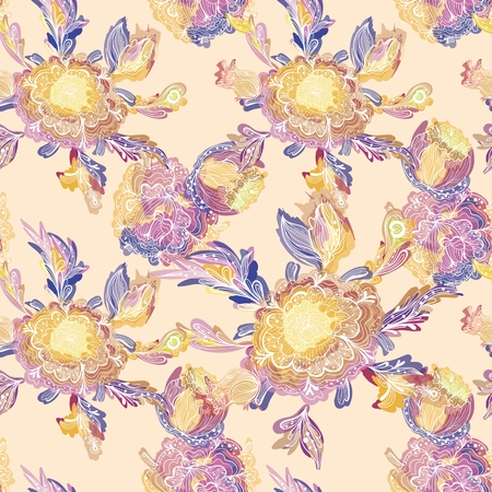 Seamless blue background with sketch flowers and watercolor effect for textile, wallpaper, bedroom interior design