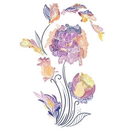 morado: Impresión romántica en azul contraste, púrpura, naranja y amarillos para el diseño de moda. Esbozo Doodle adornos florales