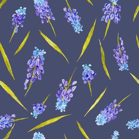 Seamless pattern with purple muskari flowers on dark blue indigo background Stock Photo