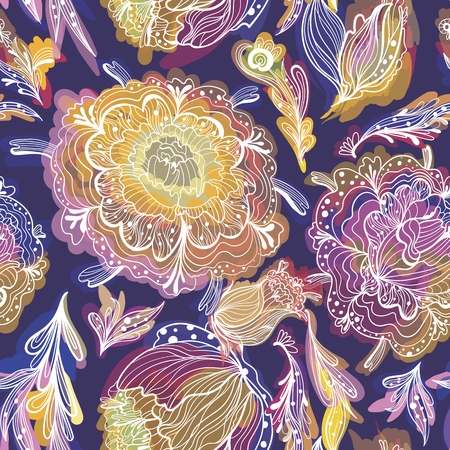 Seamless pattern with colorful watercolor effect chrysanthemum outline flowers on deep purple background