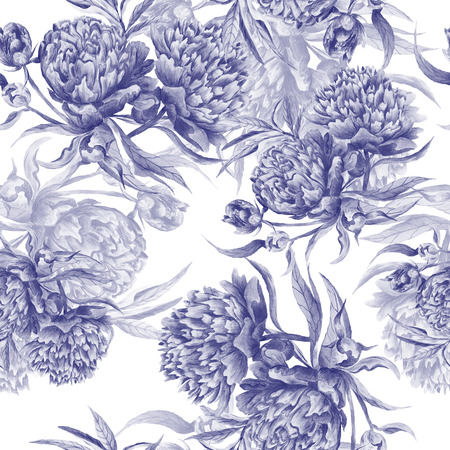 Seamless hand-painted pattern in indigo color for romantic wallpaper, textile, interior design Stock Photo
