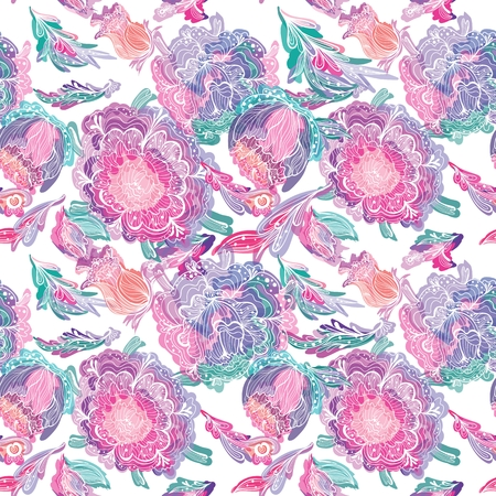 Seamless vector pattern with chrysanthemum flowers in sketch style with watercolor effect on white background