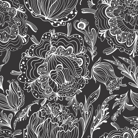 Seamless tileable texture with outline sketch doodle flowers on black background