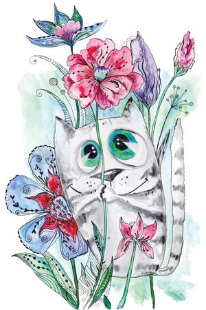 Summer illustration with kitten with large eyes holding poppy among magic flowers on white background