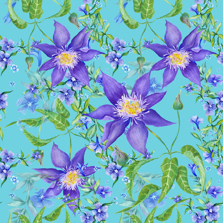 Seamless watercolor country pattern with purple and blue clematis and periwinkle flowers on turquoise background