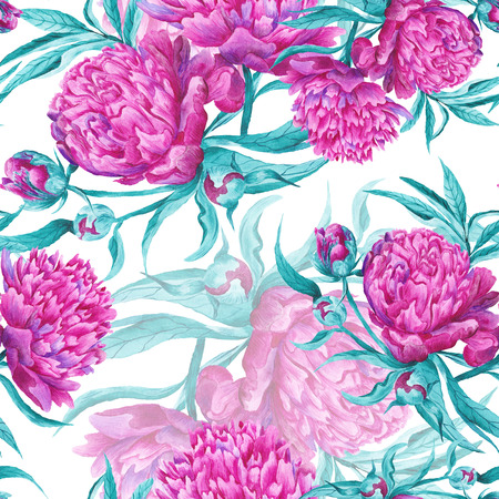 Seamless hand-painted botanical illustration with detailed pink peony flowers on white background