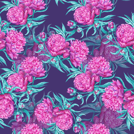 bedding: Seamless tile-able watercolor texture with pink flowers and turquoise leaves in passion romas style for textile, wallaper and bedding design