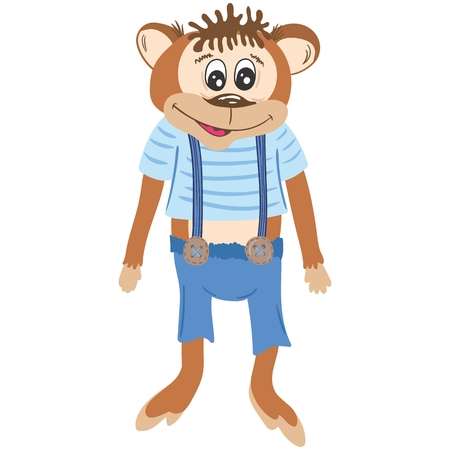 marmoset: Flat design kids toy style marmoset picture isolated on white background