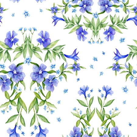 Seamless botanical natural illustration with periwinkle purple flowers for classic country design on white background