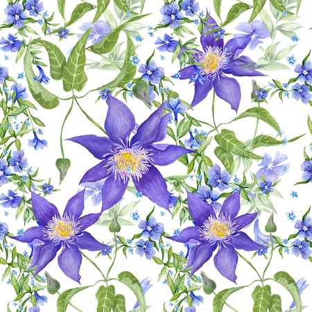 Watercolor seamless texture with garden flowers - periwinkle and clematis on white background