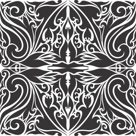 motif pattern: Seamless black and white arabic motif pattern Illustration