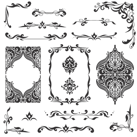 islamic art: Large bundle of detailed vector borders, corners and dividers in islamic eastern style