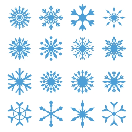 Bundle of blue ornamental creative winter frost set isolated on white background