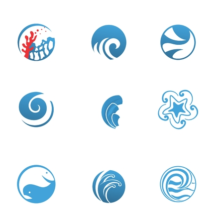 river water: Marine abstract icons for travel and seafood restaurant business Illustration