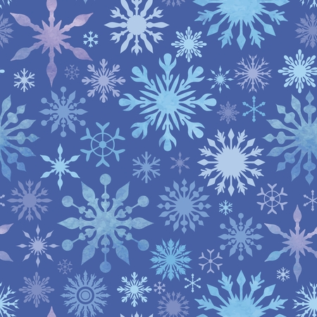 frost: Blue texture  with watercolor frost ornaments in vintage colors Illustration