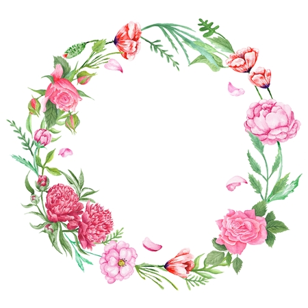 Hand-painted watercolor round frame illustration isolated on white background