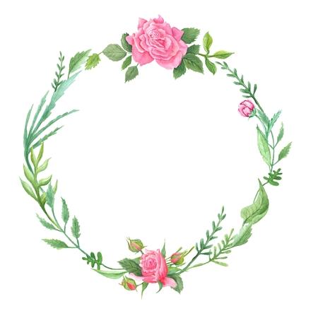 Fotos lamentable marco ecológico natural, elegante con hojas y flores de color rosa para invitaciones de boda, tarjetas de eventos, pintados a mano aisladas sobre fondo blanco Foto de archivo - 43128239