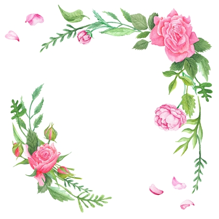 Hand-painted shabby chic elegant romantic vignettes for event and wedding invitation cards