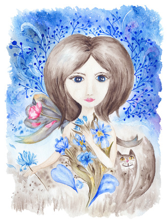 sleepy woman: Creative artwork with magic fairytale character holding flowers in her hands on blue winter background