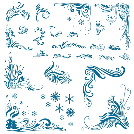 Large Set of elegant christmas vignettes, corners and snowflakes