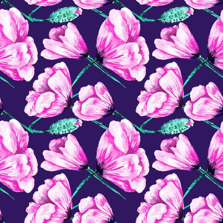 Acuarela rosada y azul pintado a mano textura floral para j�venes dise�o rom�ntico con estilo de moda
